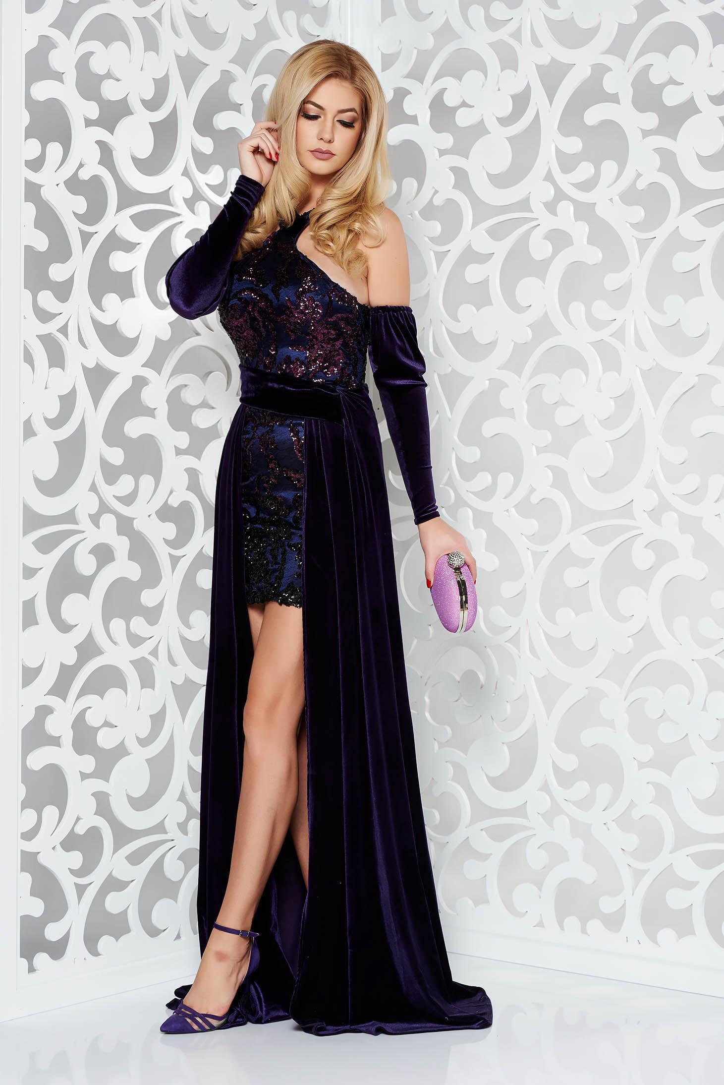 Lila StarShinerS alkalmi rövid ruha szűk szabás bársony flitteres  díszítéssel 9af1a8068a