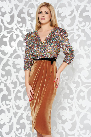 StarShinerS mustard dress occasional pencil velvet with sequins with v-neckline