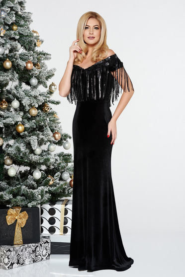 StarShinerS black occasional mermaid dress from velvet with sequins off shoulder