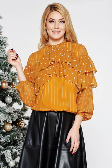 LaDonna mustard office flared women`s blouse voile fabric with inside lining with ruffle details