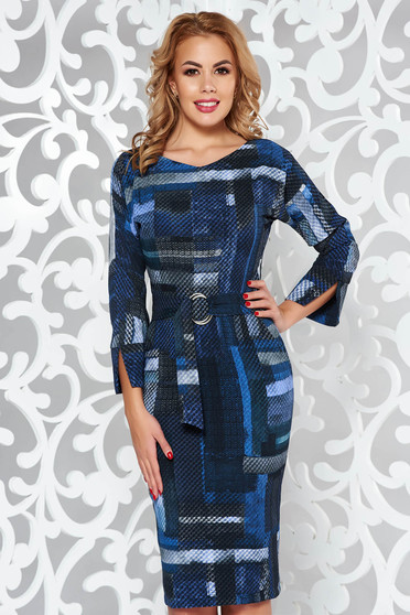 Darkblue dress office pencil from soft fabric with inside lining with pockets accessorized with tied waistband