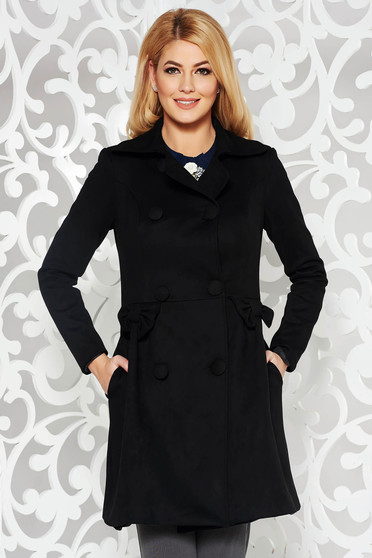 Artista black coat cloche from velvet fabric with inside lining with pockets with bow accessories