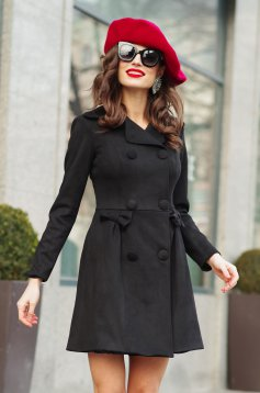 Artista black cloche coat from velvet fabric with inside lining with pockets with bow accessories