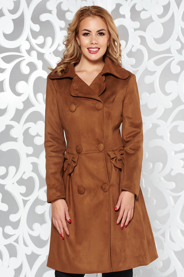 Artista brown cloche coat from velvet fabric with inside lining with pockets with bow accessories