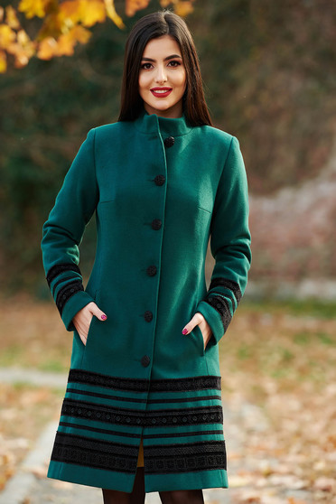 LaDonna green coat elegant cloth arched cut with inside lining with pockets velvet insertions