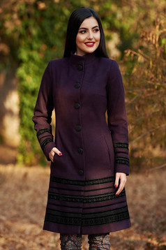 LaDonna purple elegant cloth coat arched cut with inside lining with pockets velvet insertions