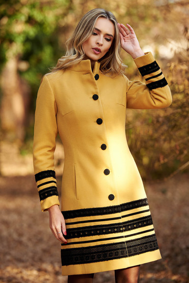 LaDonna mustard coat elegant cloth arched cut with inside lining with pockets velvet insertions