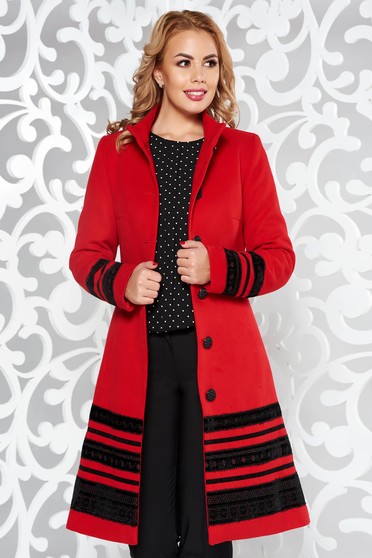 LaDonna red coat elegant cloth arched cut with inside lining with pockets velvet insertions