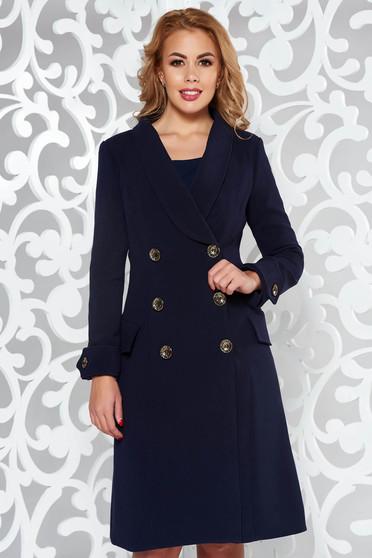 Artista darkblue coat arched cut slightly elastic fabric with pockets