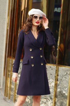 Artista darkblue coat arched cut slightly elastic fabric with pockets