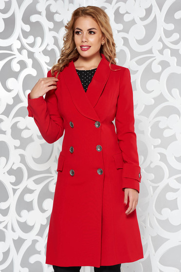 Artista red coat arched cut slightly elastic fabric with pockets