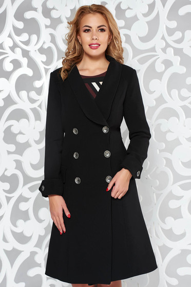 Artista black coat arched cut slightly elastic fabric with pockets