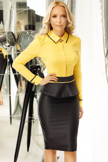 Fofy yellow women`s shirt office with tented cut slightly elastic cotton accessorized with breastpin