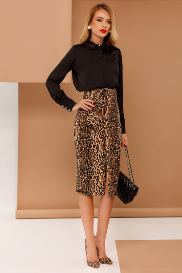 PrettyGirl brown pencil high waisted skirt with tented cut slightly elastic fabric accessorized with tied waistband
