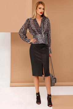 PrettyGirl black women`s blouse from veil fabric flared animal print with v-neckline