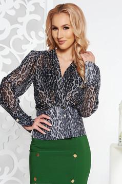 PrettyGirl black flared women`s blouse from veil fabric animal print with v-neckline