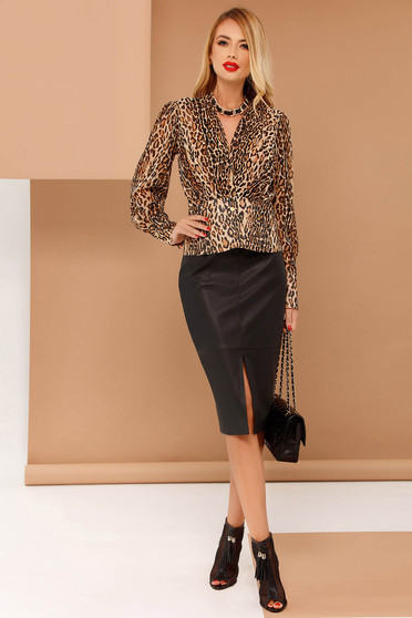 PrettyGirl brown women`s blouse from veil fabric flared animal print with v-neckline