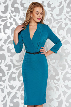 PrettyGirl green elegant pencil dress from non elastic fabric with inside lining accessorized with belt