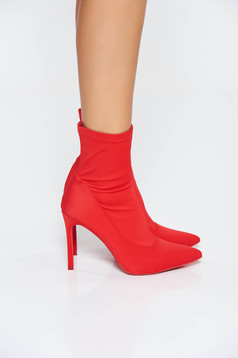 Red casual ankle boots with high heels from satin fabric texture slightly pointed toe tip