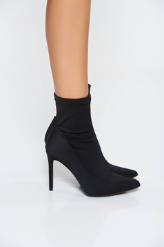 Black casual ankle boots with high heels from satin fabric texture slightly pointed toe tip