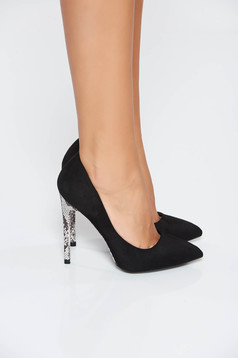 Black elegant with high heels shoes slightly pointed toe tip