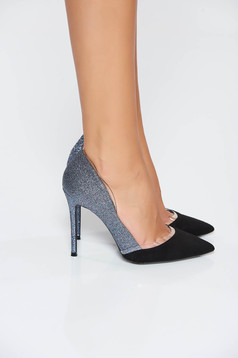 Blue elegant shoes slightly pointed toe tip with glitter details