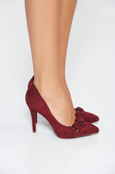 Burgundy elegant with high heels shoes slightly pointed toe tip