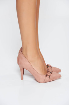 Pink elegant with high heels shoes slightly pointed toe tip