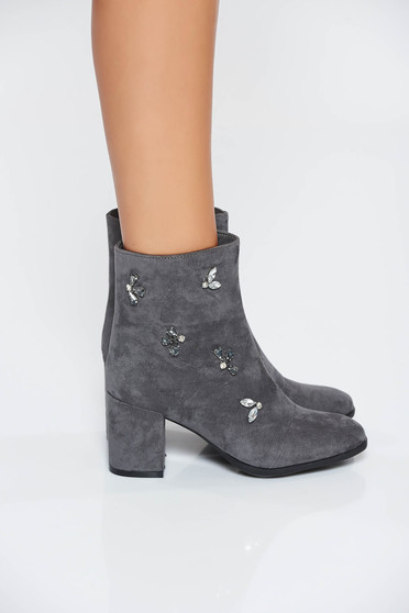 Grey casual from ecological leather ankle boots with crystal embellished details