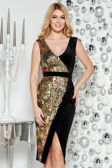 Black occasional velvet pencil dress with sequin embellished details