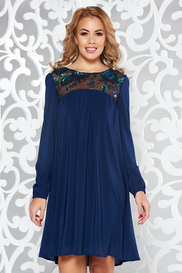 StarShinerS blue dress occasional flared voile fabric with inside lining