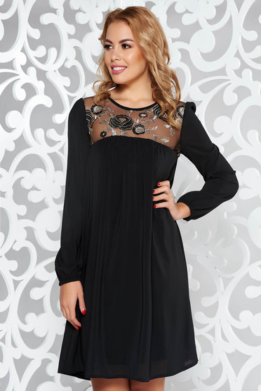 StarShinerS black dress occasional flared voile fabric with inside lining with embroidery details