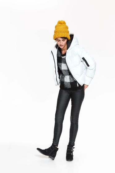 Top Secret white jacket casual from slicker with inside lining with undetachable hood
