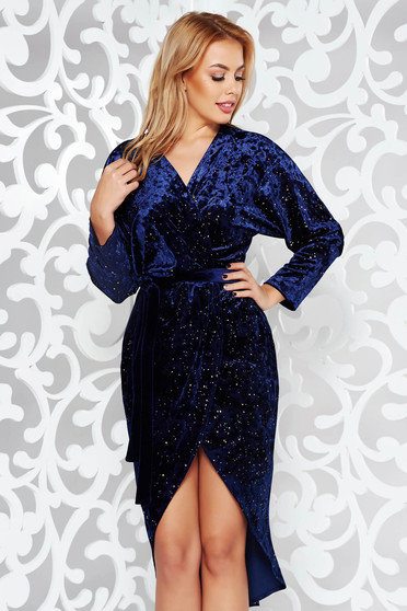 Darkblue dress occasional wrap around from velvet with bright details accessorized with tied waistband