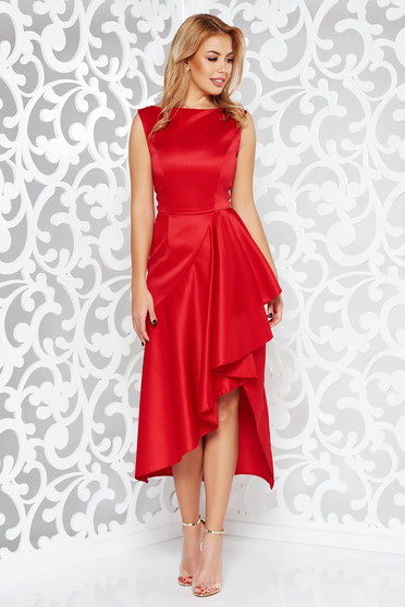 Dress red occasional asymmetrical sleeveless from satin fabric texture with ruffle details
