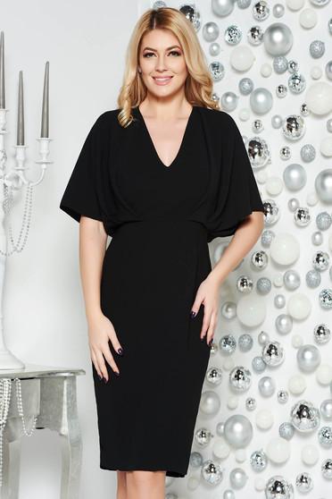 Black elegant pencil dress non-flexible thin fabric with v-neckline