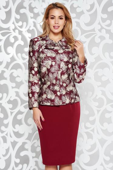 Burgundy elegant lady set from non elastic fabric