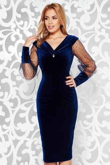 Darkblue occasional from velvet pencil dress with inside lining with v-neckline