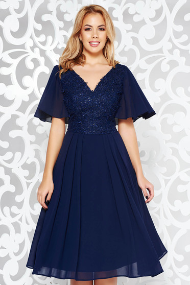 Darkblue dress occasional cloche voile fabric with inside lining lace and sequins details with 3d effect