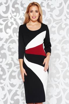 Black office midi pencil dress slightly elastic fabric 3/4 sleeve