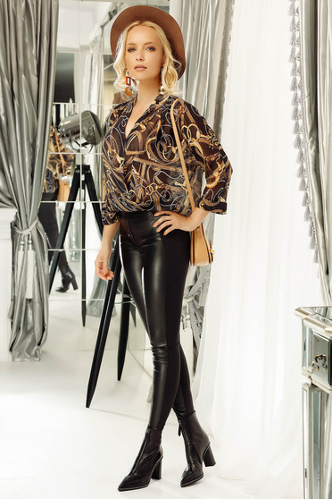 Fofy brown flared women`s blouse slightly transparent fabric with v-neckline
