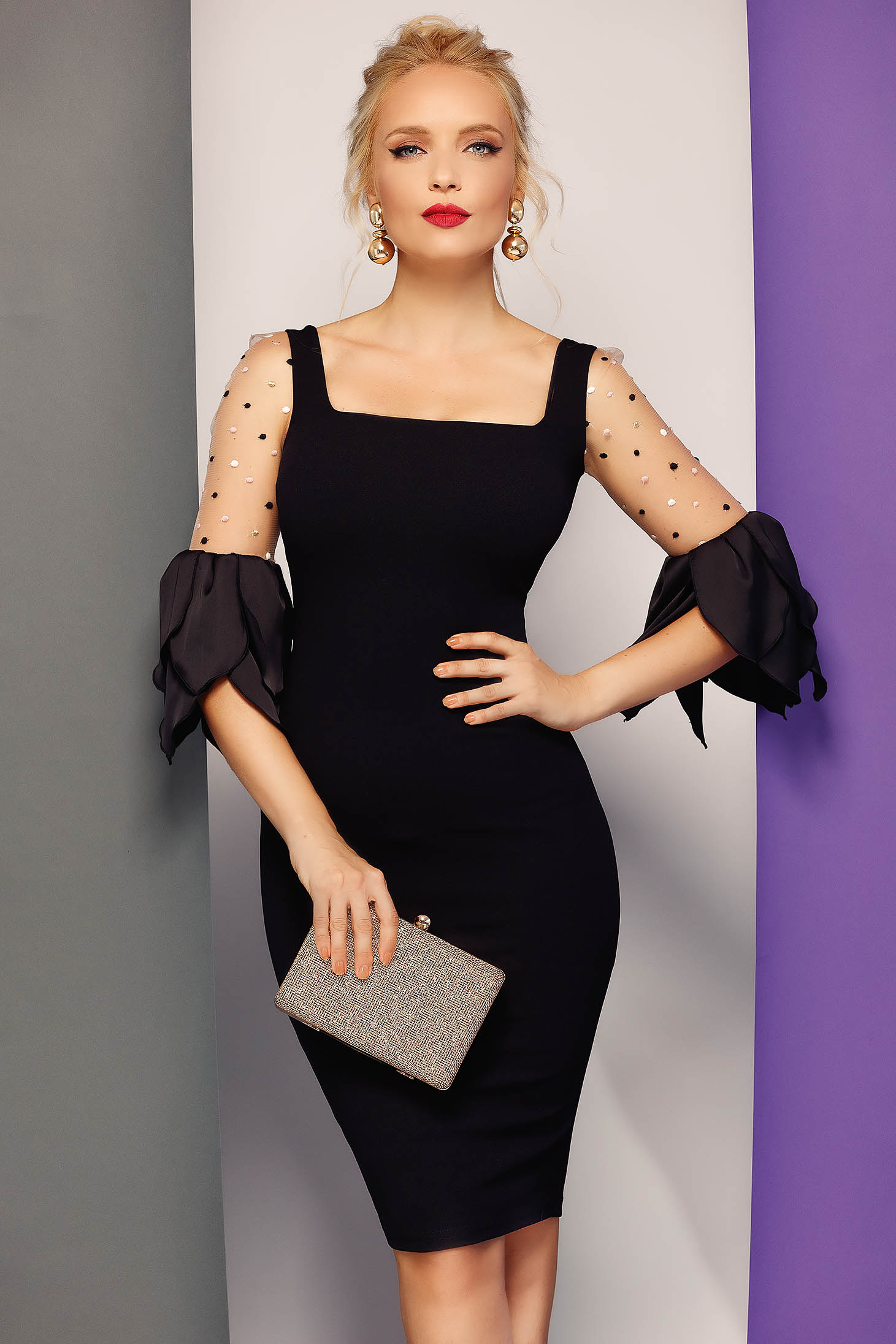 Fofy black occasional pencil dress slightly elastic fabric transparent sleeves