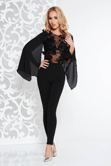 Fofy black occasional jumpsuit slightly elastic fabric with floral details with 3d effect
