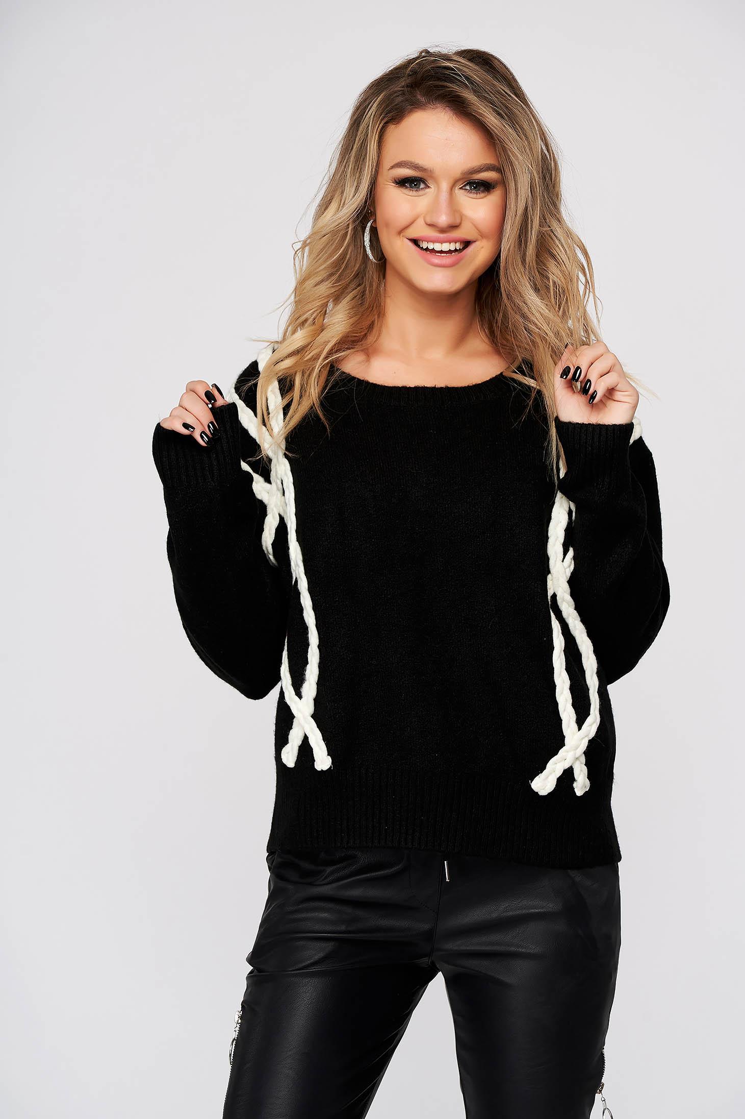 Fekete pulóver casual kötött bő szabású
