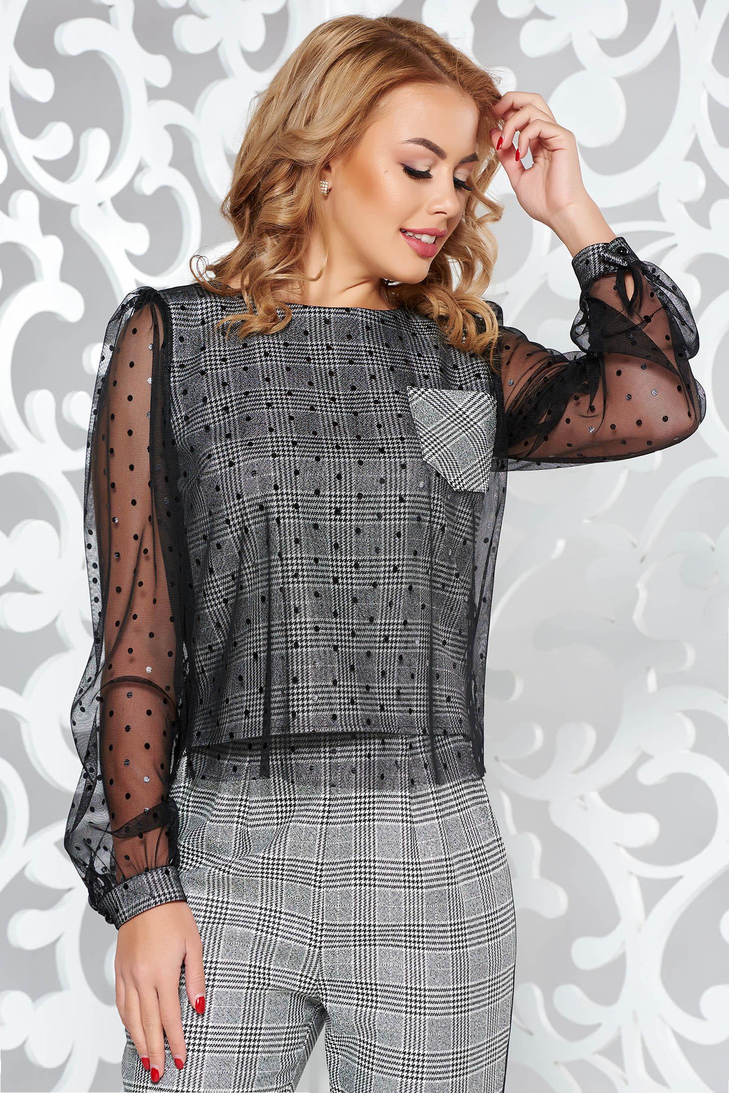 Bluza dama Fofy neagra casual cu croi larg din stofa neelastica in carouri cu tul