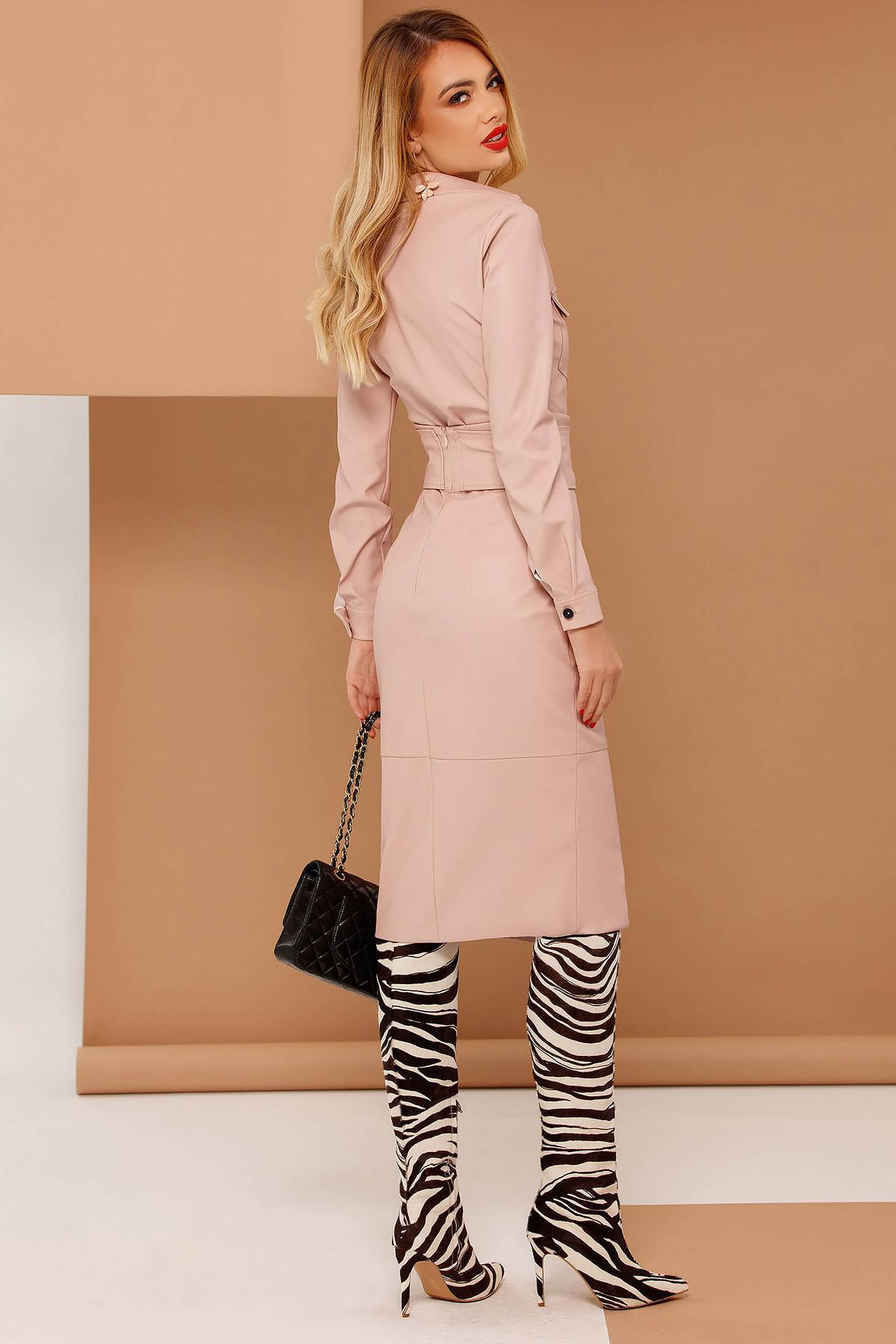 Fusta PrettyGirl rosa tip creion cu talie inalta din piele ecologica captusita pe interior accesorizata cu cordon