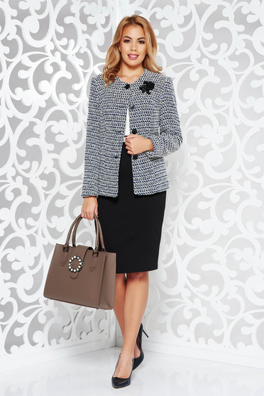 Black office lady set from non elastic fabric with inside lining