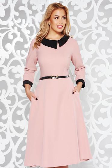 Rosa elegant cloche dress slightly elastic fabric accessorized with belt