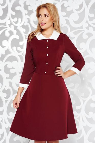 Burgundy dress office cloche midi slightly elastic fabric with inside lining