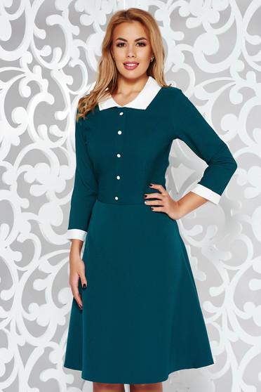 Green dress office cloche midi slightly elastic fabric with inside lining